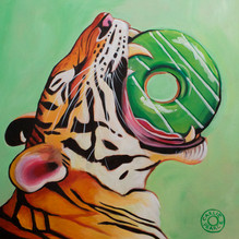Tiger Eating Donut