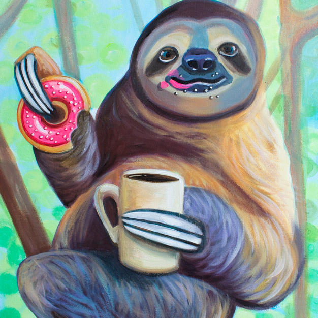 Sloth with Coffee and Donut
