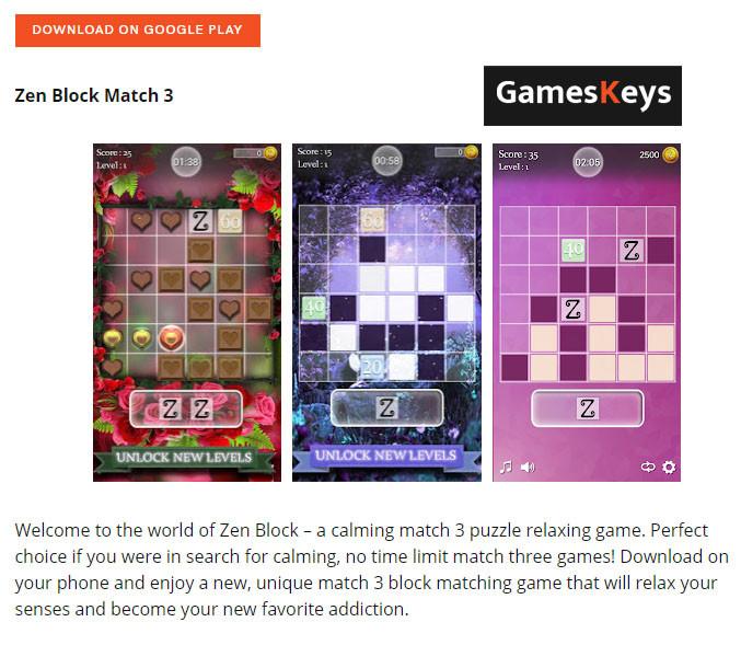 Zen Block Match 3 On GameKeys.nets Hidden Gems