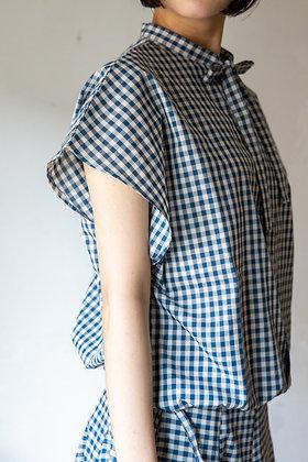 109ギンガムチェックリボンシャツ