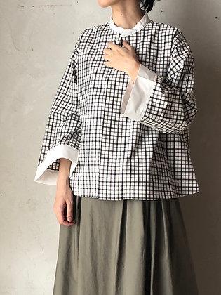コットン チェックノーカラーシャツ(TF2030151)
