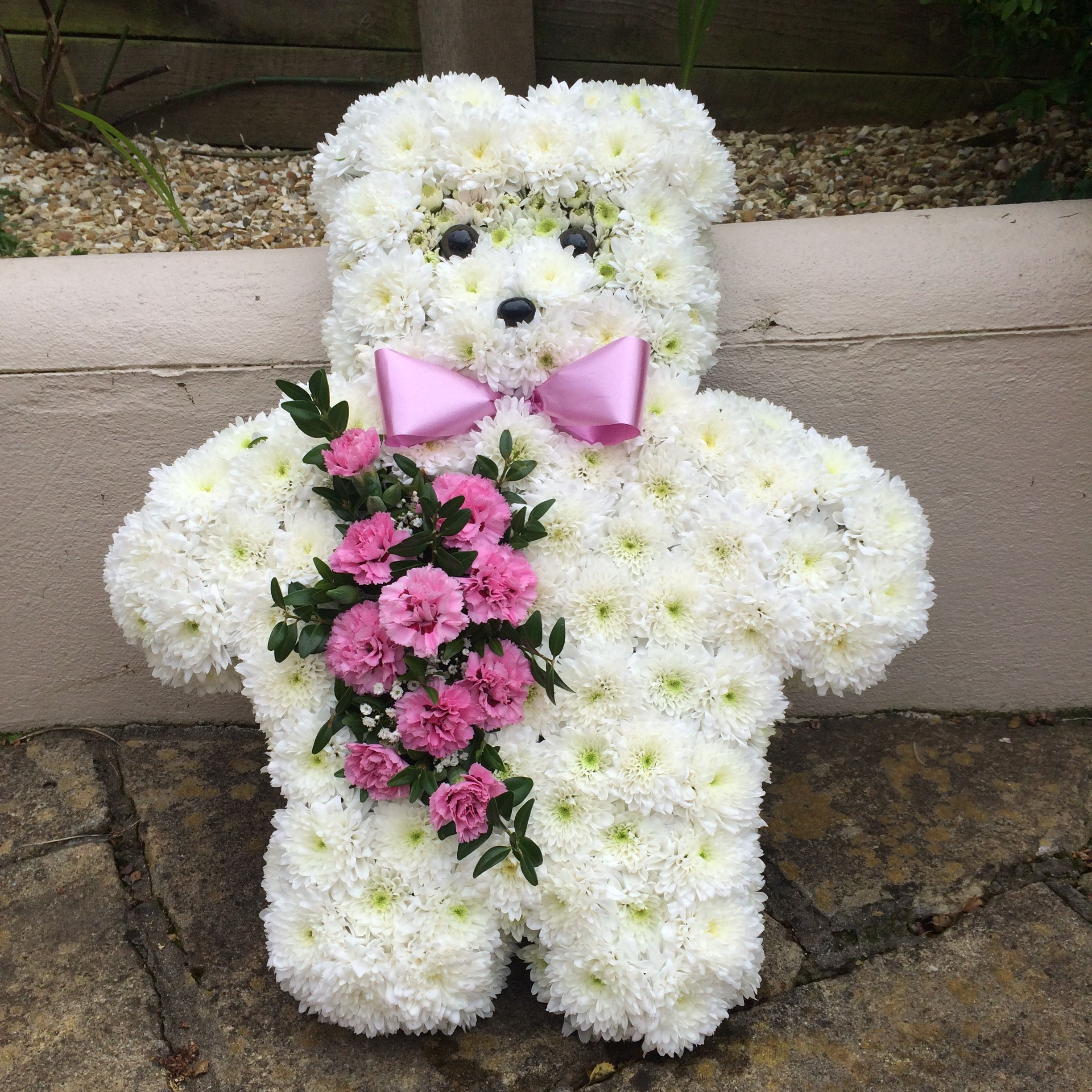 white based teddy bear funeral tribute.j