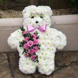 white based teddy bear funeral tribute.j