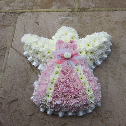 pink and white based angel funeral tribu