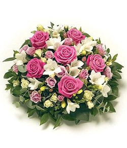 posy pad pinks and whites funeral tribut
