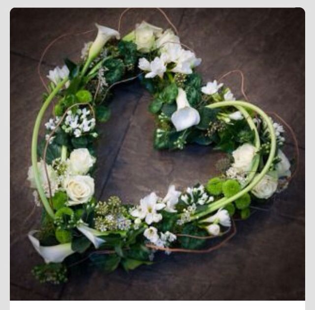 white roses and calla lilly heart funera