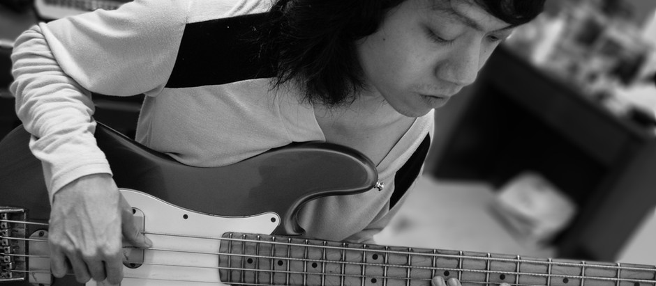 Bass Rehearsing Before Recording