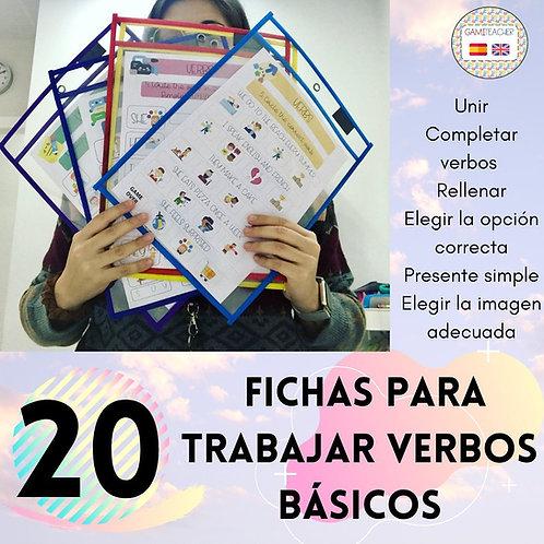 20 FICHAS PARA TRABAJAR LOS VERBOS