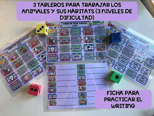 TABLEROS PARA TRABAJAR LOS HÁBITATS DE LOS ANIMALES