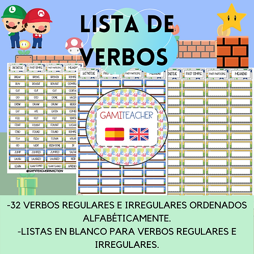 LISTAS DE VERBOS (MARIO BROS)