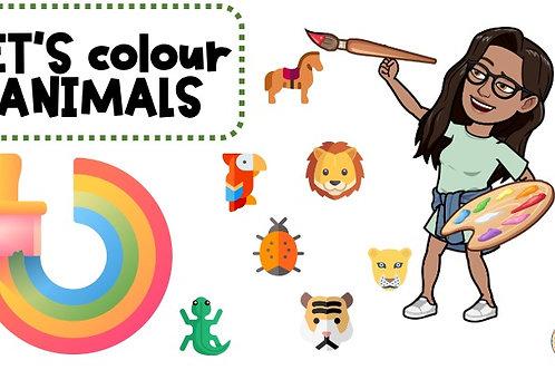 REPASAR LOS ANIMALES COLOREANDO (WORKSHEET)