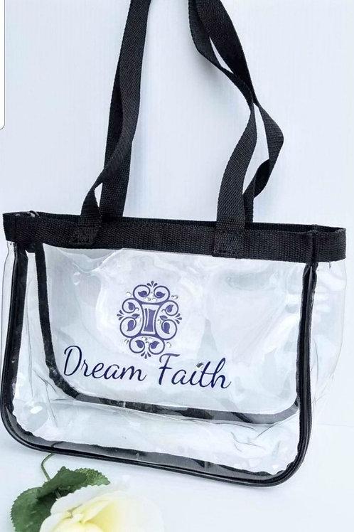 Black zipper clear tote bag