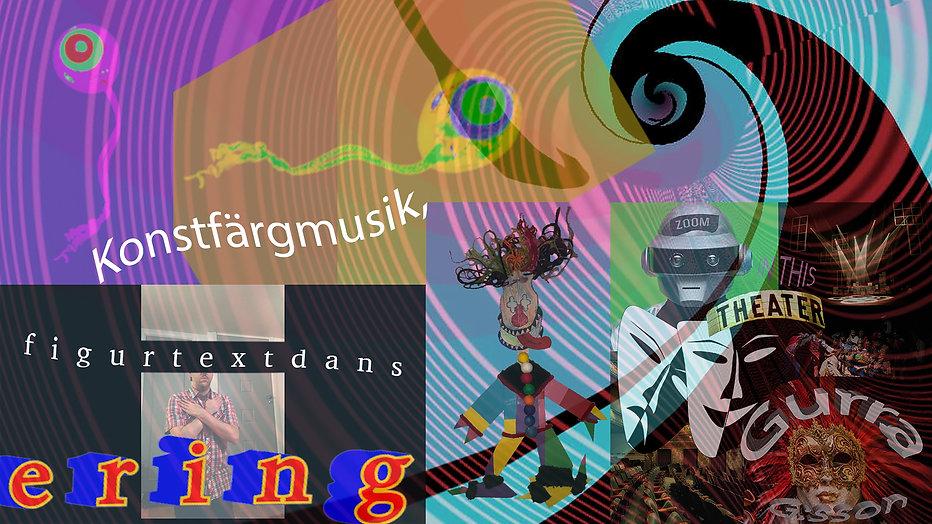 Ett kollage med många olika färger och mönster. I bilden står det: Konstfärgmusik, ering, figurtextdans