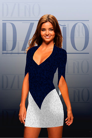 DUO-TONE FITTED DRESS