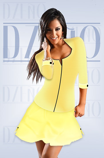 FITTED ZIP TOP & SKIRT SET