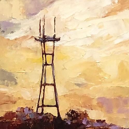 Sutro Tower, golden sunset