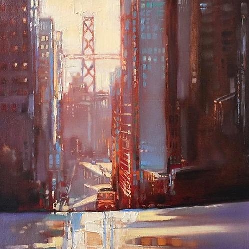 San Francisco, sunrise above Bay Bridge