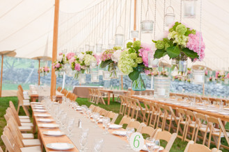 Family-Style Tented Wedding with Hanging Centerpieces