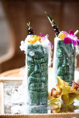 Tiki Surprise Cocktail - Rum, Pineapple, Dry Ice, Orange Juice