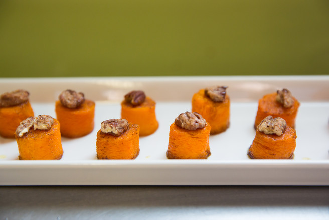 Butternut Squash Barrels with Candied Pecans