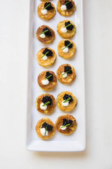 Corn Blinis with Black Truffle Caviar