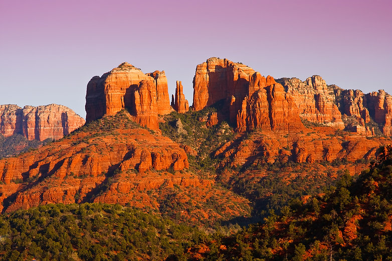 The view of Cathedral Rock in Sedona, Ar