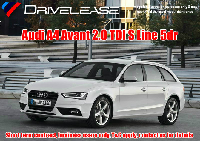Audi A4 Avant 2.0TDI S Line - only £79.99 + VAT per week - 30 week short term hire contract