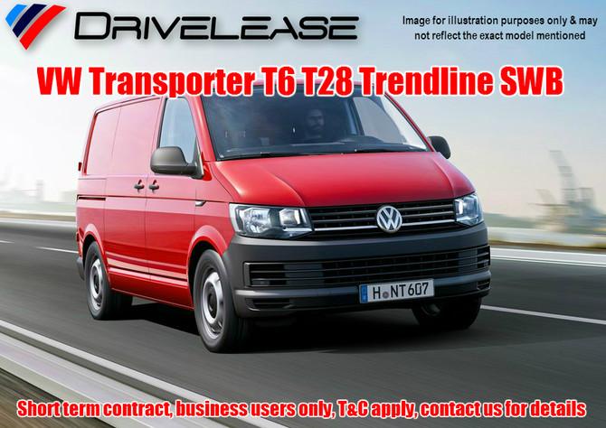 VW Transporter T6 T28 Trendline SWB - only £59.99 + VAT - 26 week short term hire contract
