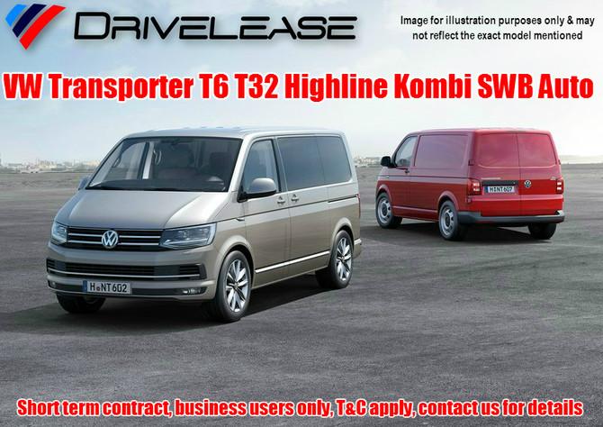 VW Transporter T6 T32 Highline Kombi SWB Auto - only £69.99 + VAT per week - 26 week short term hire