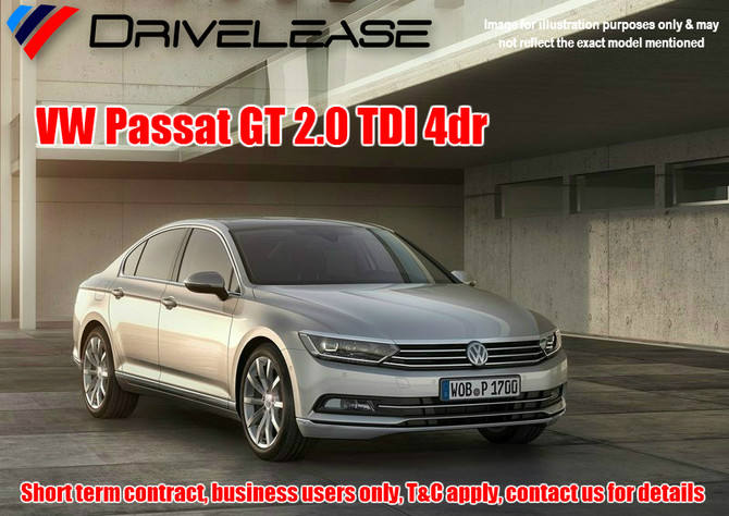 VW Passat GT 2.0TDI - only £77.99 + VAT per week - 26 week short term hire contract