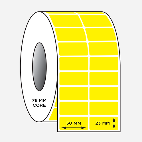 50X23mm Yellow Blank Barcode Labels