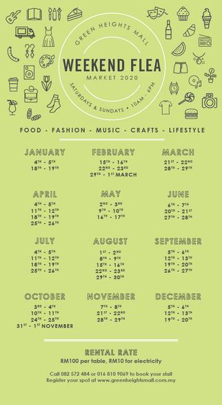 Weekend Flea Market Calendar 2020