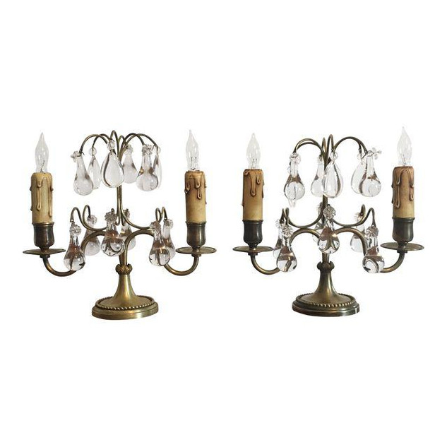 Early 20th Century Brass and Glass Girandoles, a Pair