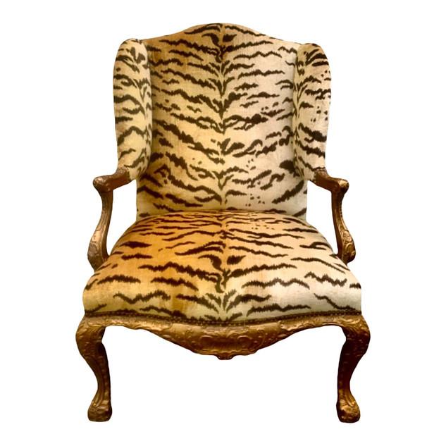 Louis XV Style Fauteuil Aux Oreilles in Scalamandré Le Tigre Silk Velvet