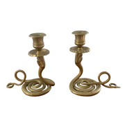 French Brass Serpent Snake Candle Holders, Pair