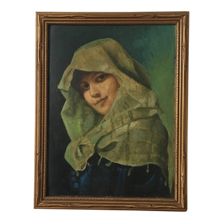 Vintage Oil on Board Portrait of a Veiled Young Woman