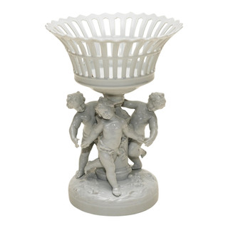 Porcelain Reticulated Basket on Pedestal with 3 Putti
