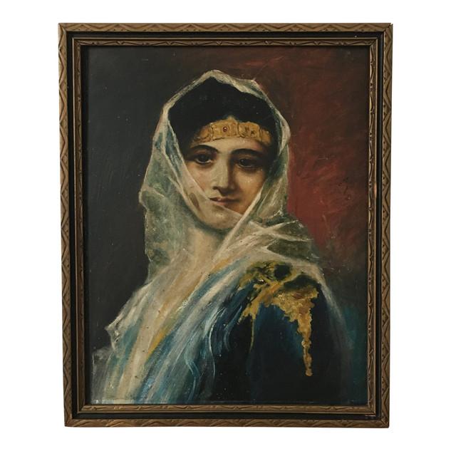 Oil on Board Portrait of a Veiled Woman