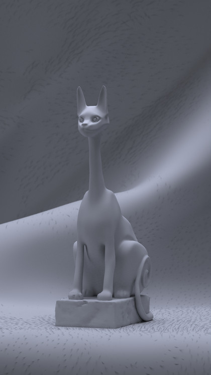 Long Neck Cat Clay