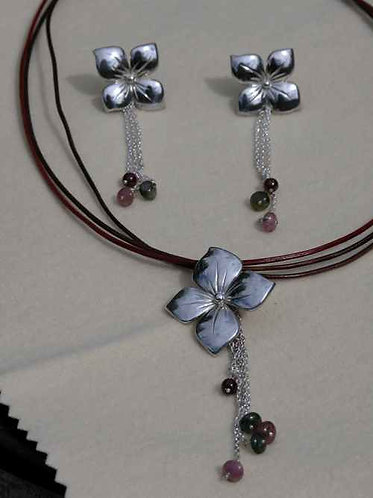 Ensemble pendentif & B.O. fleurs