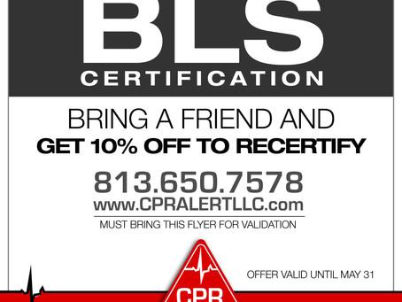 Upcoming BLS Training May 11 and May 12 at 9 am