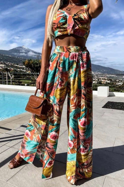 Orange Floral Tropical Print Front Tie Bra Top & Matching Front Slit Palazzo Tro