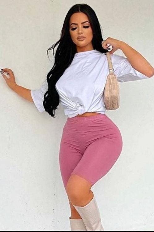 Pink Basic Cycling Shorts