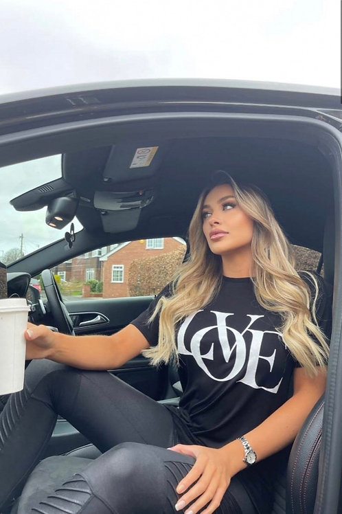 Black Love Slogan Print T Shirt
