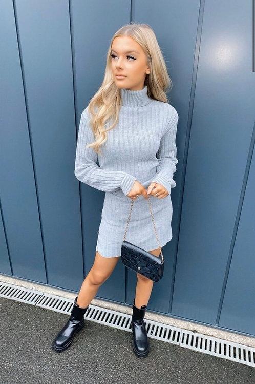 Grey Rib Knit Roll Neck Jumper Dress