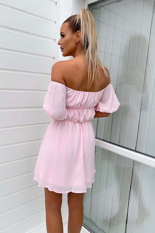 Pink Gathered Short Sleeve Bardot Skater Dress