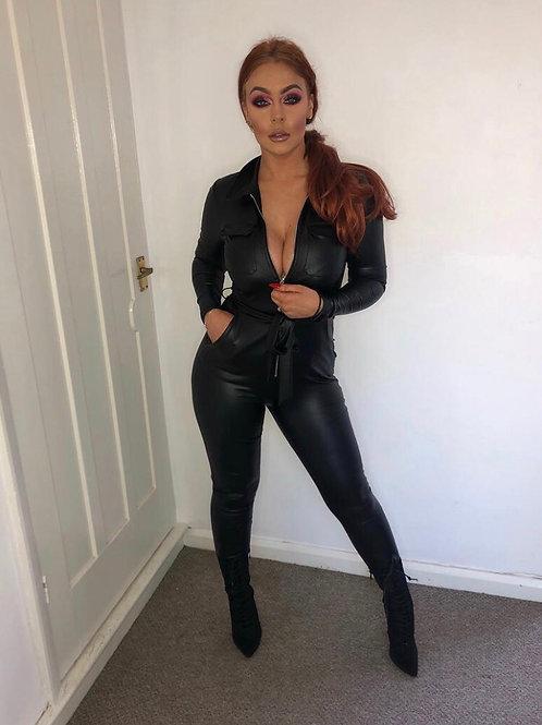 Black Zip Front Long Sleeve Wet Look Belted Jumpsuit