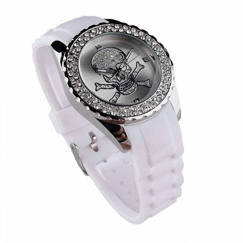 White Skull Diamante Watch