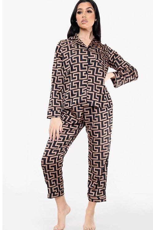 Long Sleeved Zig Zag Print Pyjama Set