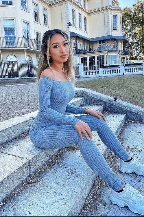 Grey Rib Knit Long Sleeve Bardot Jumpsuit